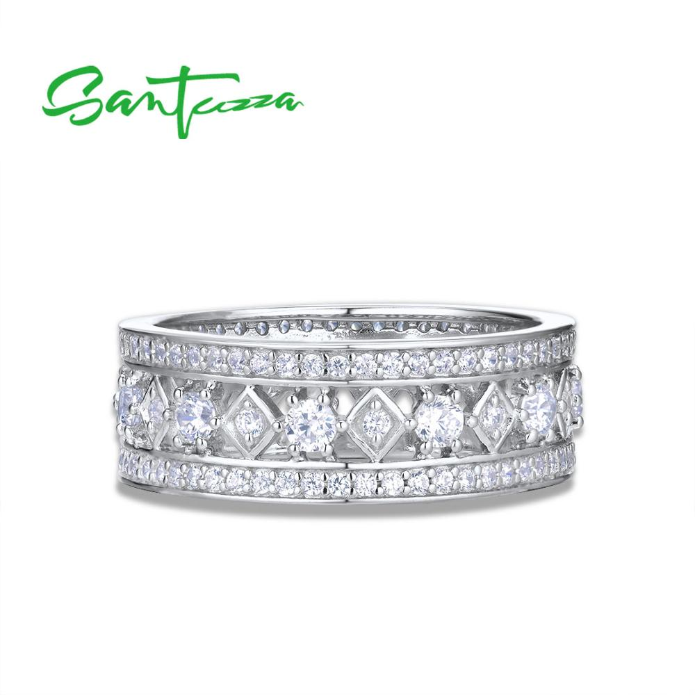 Image 4 - SANTUZZA Silver Engagement Ring For Women Genuine 925 Sterling Silver Wedding Ring Shiny Cubic Zirconia Party Fashion Jewelry-in Rings from Jewelry & Accessories