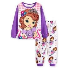 Купить с кэшбэком Hot Selling Cotton Children's Clothing Boy Girls Baby Cartoon Long-Sleeve Sofia Pajama Set Pajamas
