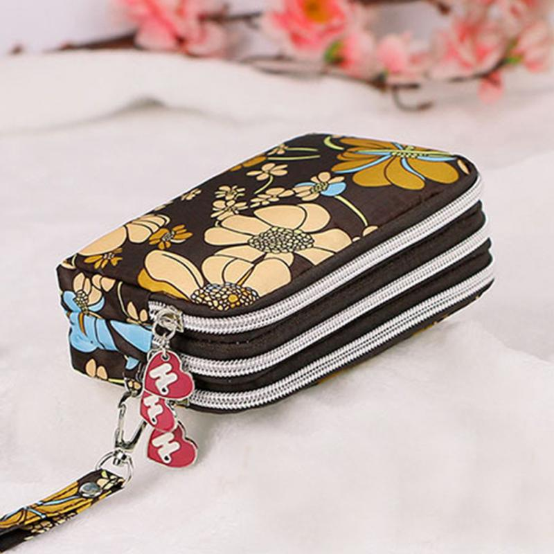 New Fashion Portable Washed Woolen Make-up Bag Coin Purse Mini Bag With Three Zipped Women Wallets Phone Bag