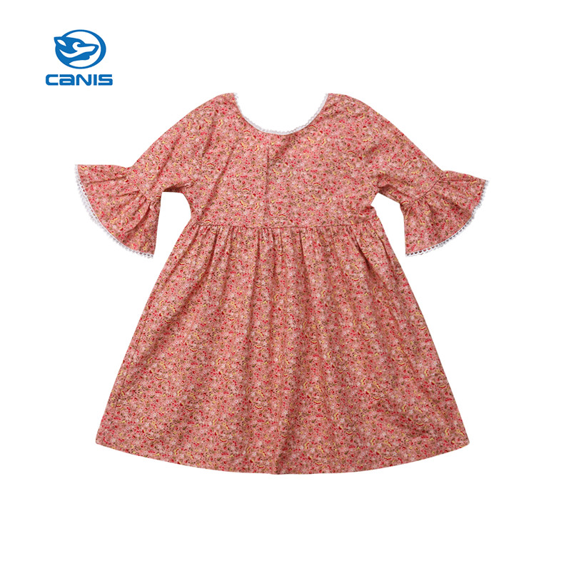 CANIS Infant Cute Princess Baby Kid Girls Lace Sleeve Dress Party Wedding Pageant Bridesmaid Princess Dress Girl Dresses Clothes