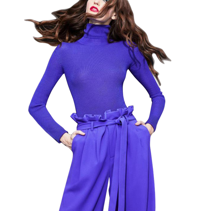 2 pieces set pants woman pants set lightning blue long sleeve tight turtleneck runway sweaters knit
