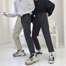 Vintage Patchwork Paid Pants Harajuku Women Trousers Elastic Waist Korean Causal Straight