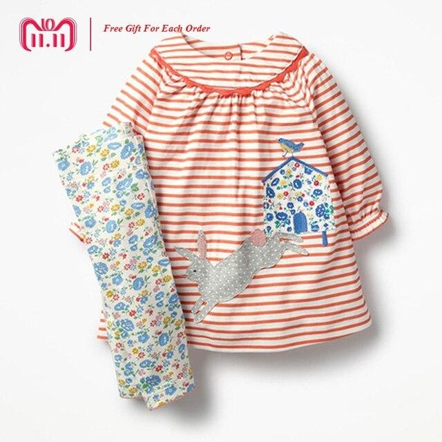 Little Maven marca 2018 otoño primavera bebé niñas dibujos animados rayas  impresión Vestido de manga larga aadde7c8260