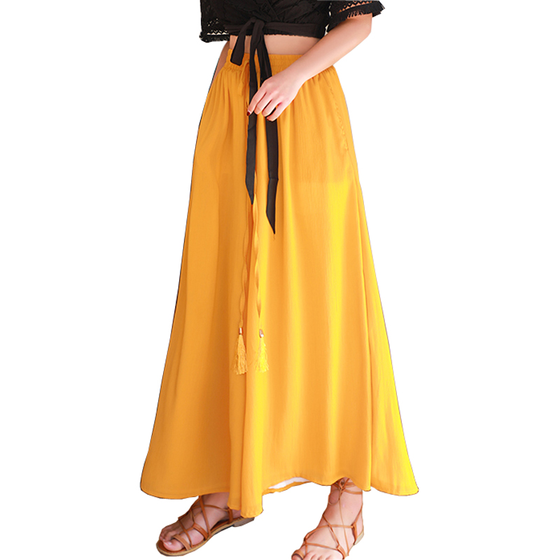 Pengious chiffon large hem women pants high elastic waist