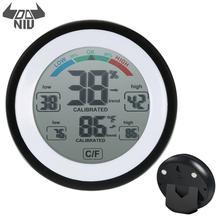 Daniu TS-S93 multifuncional casa redonda display digital higrômetro sentir tela termômetro digital termômetro de umidade interior