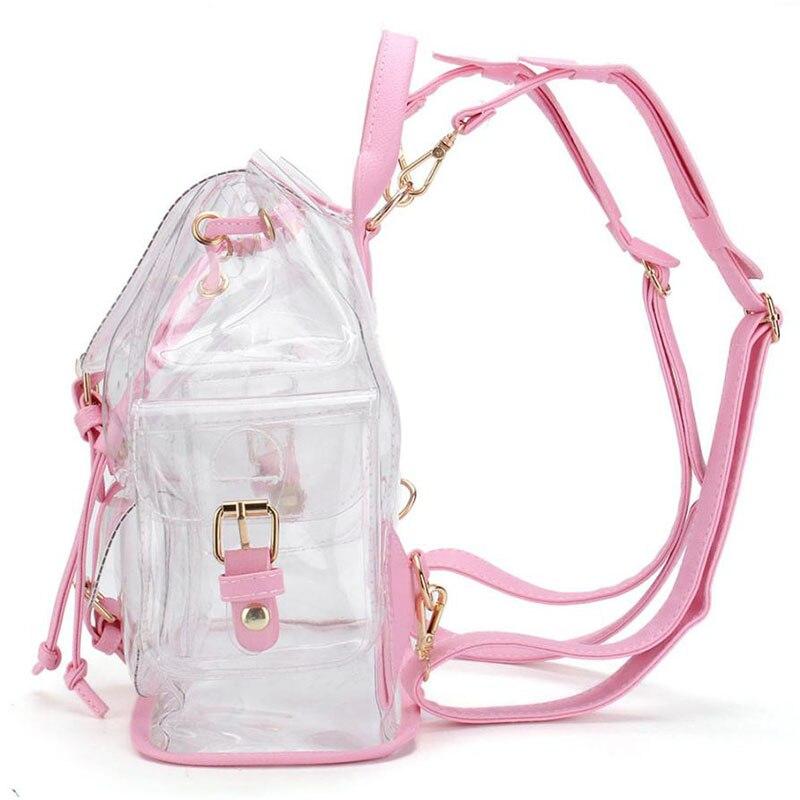 Korean cute Clear Plastic Transparent Backpacks ladies women girl student  Female Backpack travel Bag PVC School Book bag-in Backpacks from Luggage    Bags on ... d6fb283ed3