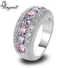 Lingmei Прямая поставка модное женское кольцо с розовым кубическим