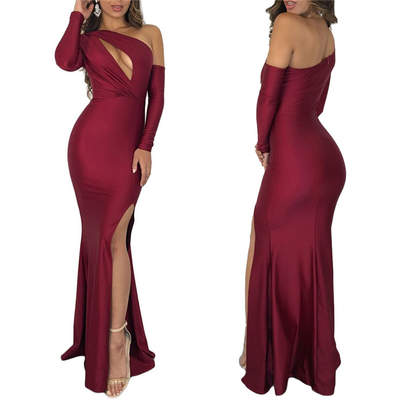 Women Sexy Evening Party Dresses Hollow Out One Shoulder Long Sleeve High Slit Bodycon Maxi Dress Night Club Outfits in Dresses from Women 39 s Clothing