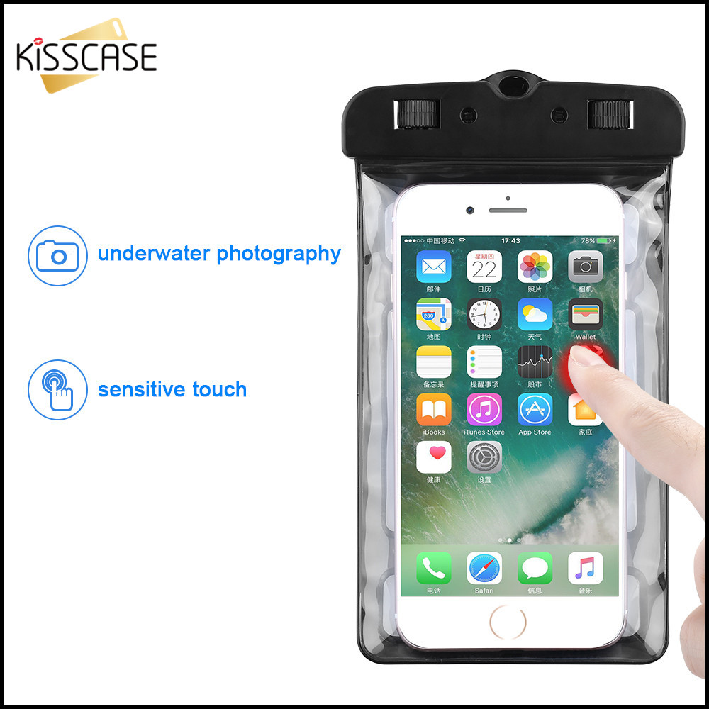 KISSCASE IPX8 Waterproof Case For iPhone Swimming Phone Bag Cover Under Water Case For Samsung S10 Note 9 For Huawei Mate 20 in Phone Pouches from Cellphones Telecommunications