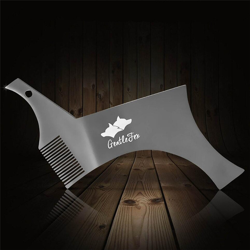 Stainless Steel Men Beard Shaper Styling Template Comb Tool Premium Quality Hair Removal Stencil For Men's Face Beard Shaving