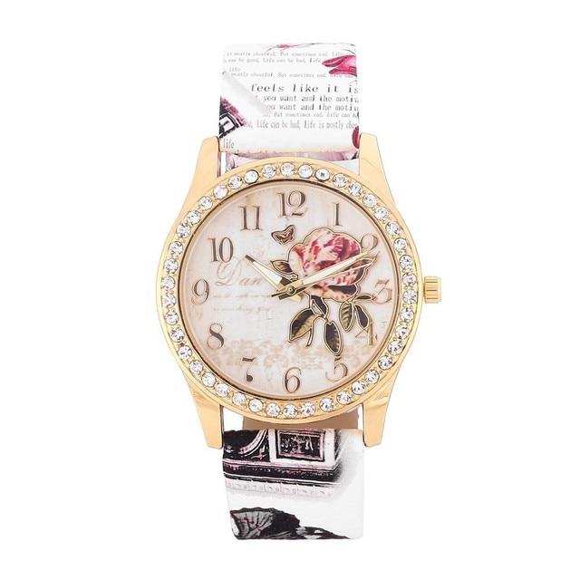 7ff9cf1af9d Excelente Qualidade Assista Mulheres Diamond Dial Moda Relógios de Quartzo  Dourado-relógio Encantador Subiu Relógios