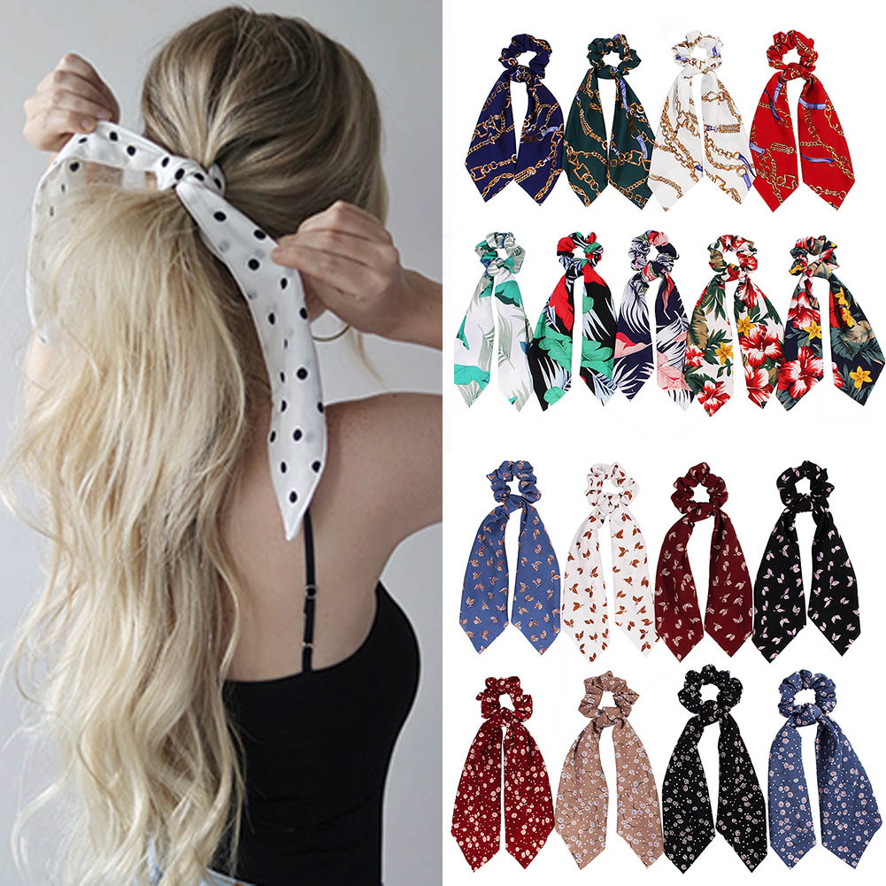 <font><b>fashion</b></font> summer Ponytail Scarf Elastic Hair Rope for Women Hair Bow Ties Scrunchies Hair Bands Flower Print Ribbon Hairbands image