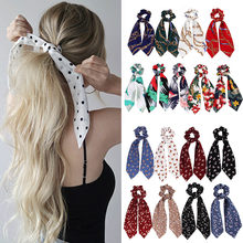 fashion summer Ponytail Scarf Elastic Hair Rope for Women Hair Bow Ties Scrunchies Hair Bands Flower Print Ribbon Hairbands(China)