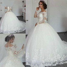 Ball Gown Long Sleeve FLuffy Lace Wedding Dresses 2018