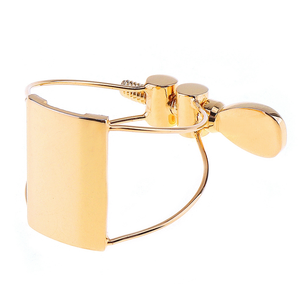 Gold-Plated Bb Clarinet Mouthpiece Ligature Clip With Flute Head Card Cap For SaxophoneGold-Plated Bb Clarinet Mouthpiece Ligature Clip With Flute Head Card Cap For Saxophone
