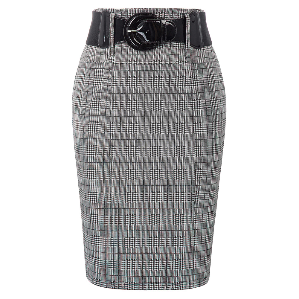 Women's Skirts Retro Vintage Grid Plaid Skirt Belt Decorated Hips-wrapped Office Business Lady Bodycon Pencil Skirt Mini Falda