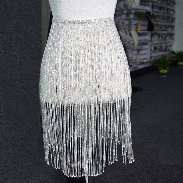 1yard Top luxury crystal 46CM tassel length fringe trimmings rhinestones  appliques for wedding dress women clothing fa9f6a59cf3c