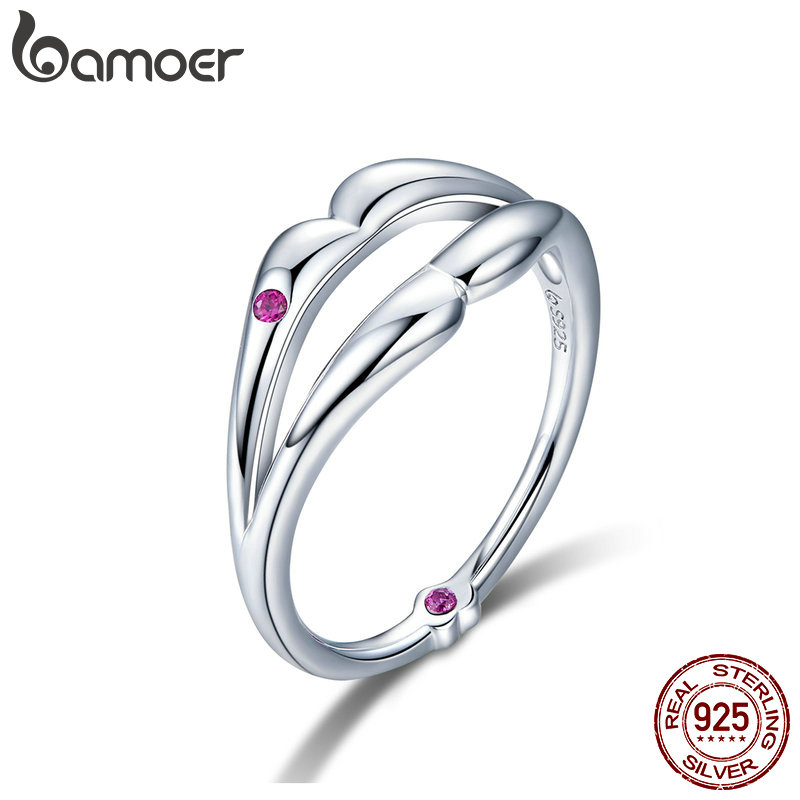BAMOER New Collection 925 Sterling Silver Love Kiss Lips Finger Ring Red CZ Rings For Women Wedding Engagement Jewelry BSR024