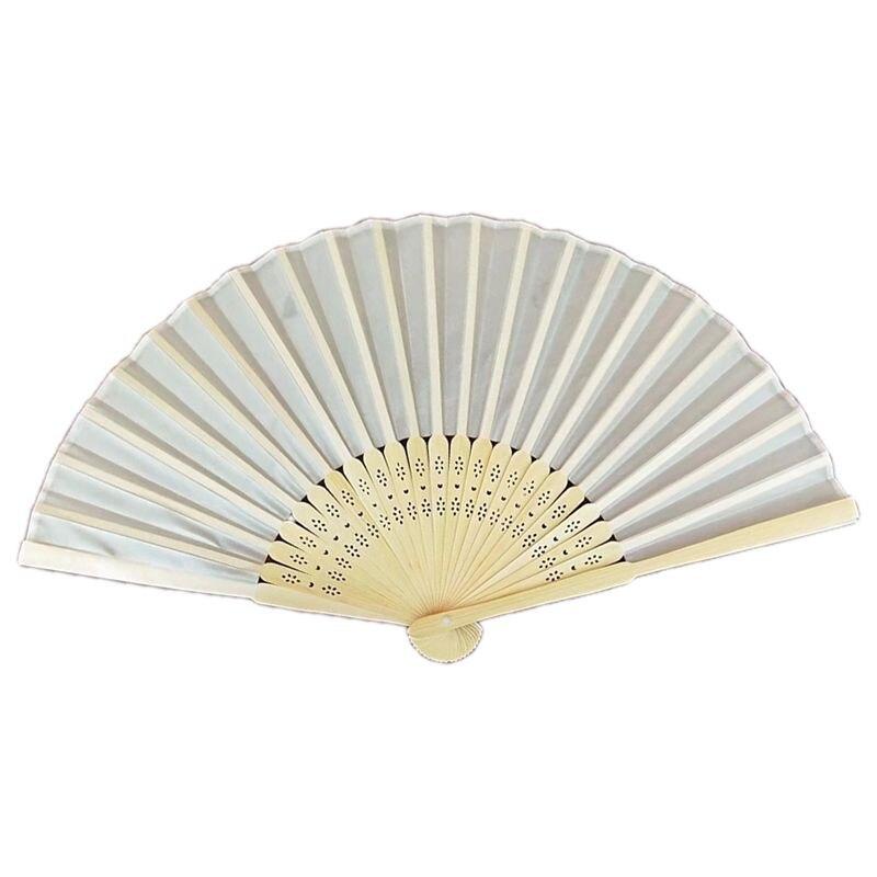 10pcs/lot Personalized 21cm Wood Spun Silk Hand Fan Wedding Invitation