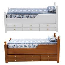 مصغرة دمية السرير أثاث لعبة 1:12 بيت الدمية سرير خشبي مع انزلاق الأدراج نوم معيشة دمية ديكور الأثاث