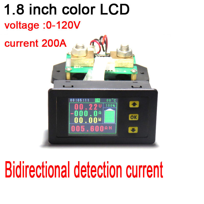 120V 200A Battery Monitor Meter DC Voltage current temperature Capacity power coulomb Charging discharge volt ammeter + shunt 120V 200A Battery Monitor Meter DC Voltage current temperature Capacity power coulomb Charging discharge volt ammeter + shunt