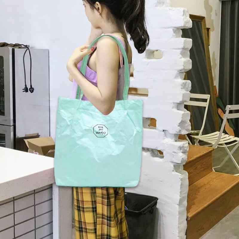 Portable Wanita Musim Panas Pantai Tyvek Tas Wanita Besar Totes Warna Solid Tahan Air Bahu Kasual Genggam Sederhana Top-Handle
