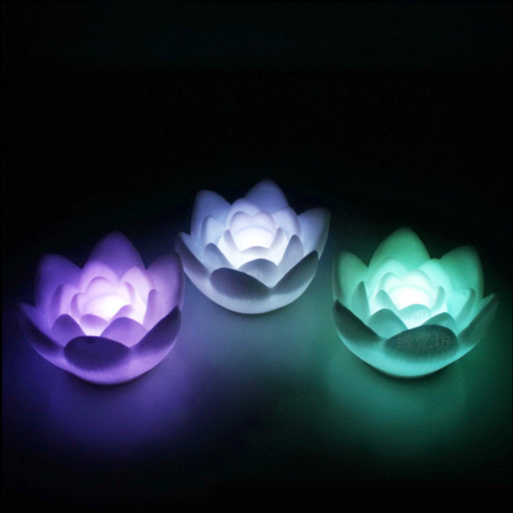1 Pc Color Changing Lotus Flower Led Night Light Floating Romantic Night Light For Holiday Bedroom Bar Skillful Manufacture