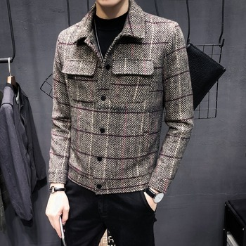 2018 new coat men's short section Korean version of the trend of social guy jacket spring and autumn Slim men's plaid clothes