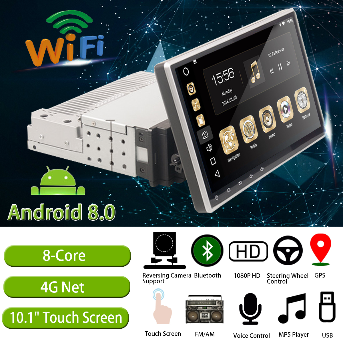 Car Multimedia Player 10.1 1G+16G for Android 8 Car Stereo 1DIN bluetooth WIFI GPS Nav Quad Core Radio Video MP5 Player