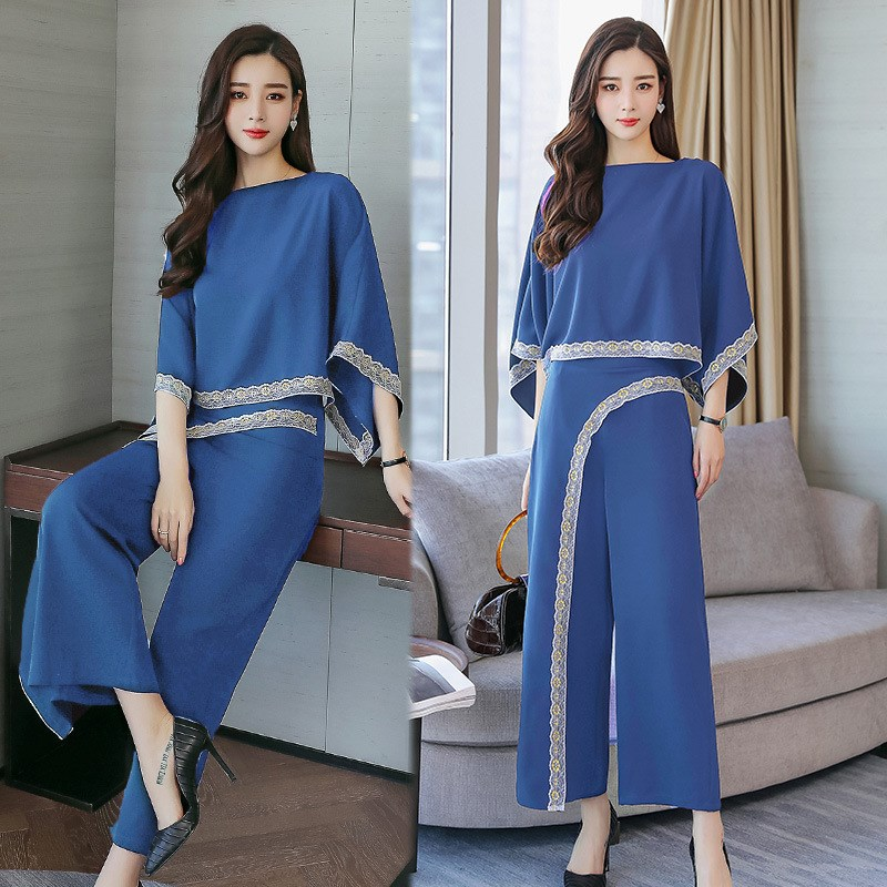 2019 Spring Women Fashion Loose Lace Tops Wide leg Pants Suits Womens Temperament Chiffon Plus Size Sets