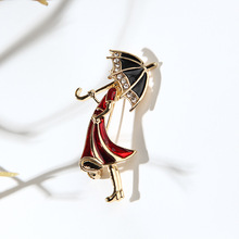 Red Umbrella Brooch Fashion Popular Female Jewelry Elegant For Women Lapels Needle Out Wearing