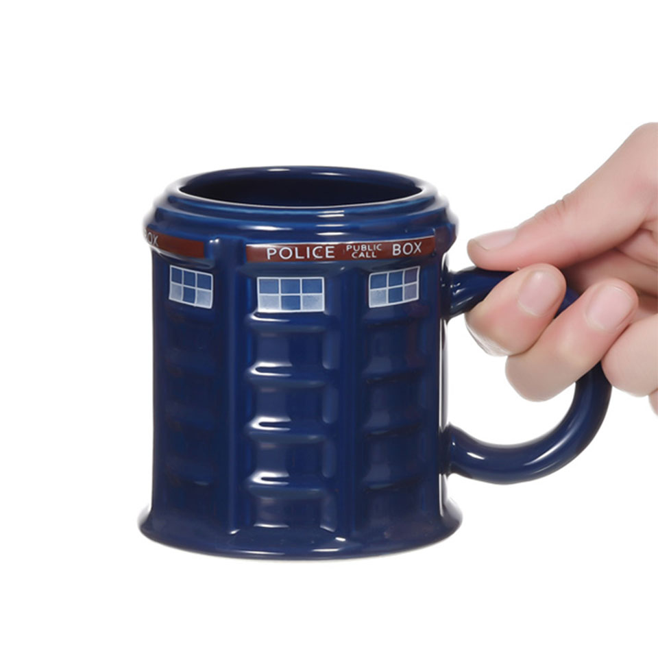 Image 2 - Doctor Who Tardis Police Box Ceramic Mug Cup With Lid Cover For Tea Coffee Mug Funny Creative Gift Christmas Presents Kids Men-in Mugs from Home & Garden