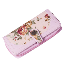 New Lady Womens Fashion Flower Retro Cloth Leather Long Purse Wallet Buckle Mobile Phone Bags