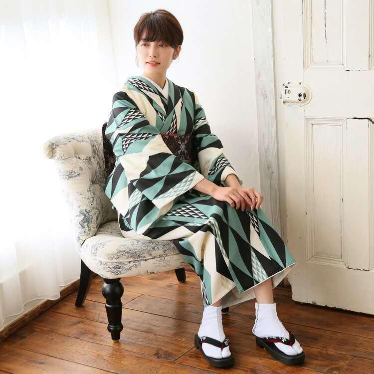 Japonais Kimono Cosplay Traditionnel Coton Peignoirs Japon Kimono motifs Géométriques Yukata Femmes Peignoir Nuit D9013