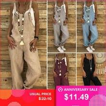 1b29b75531 ZANZEA Rompers Women Jumpsuits Cotton Linen Female Overalls Dungarees Casual  Harem Pants Loose Long Playsuit Jumpsuit
