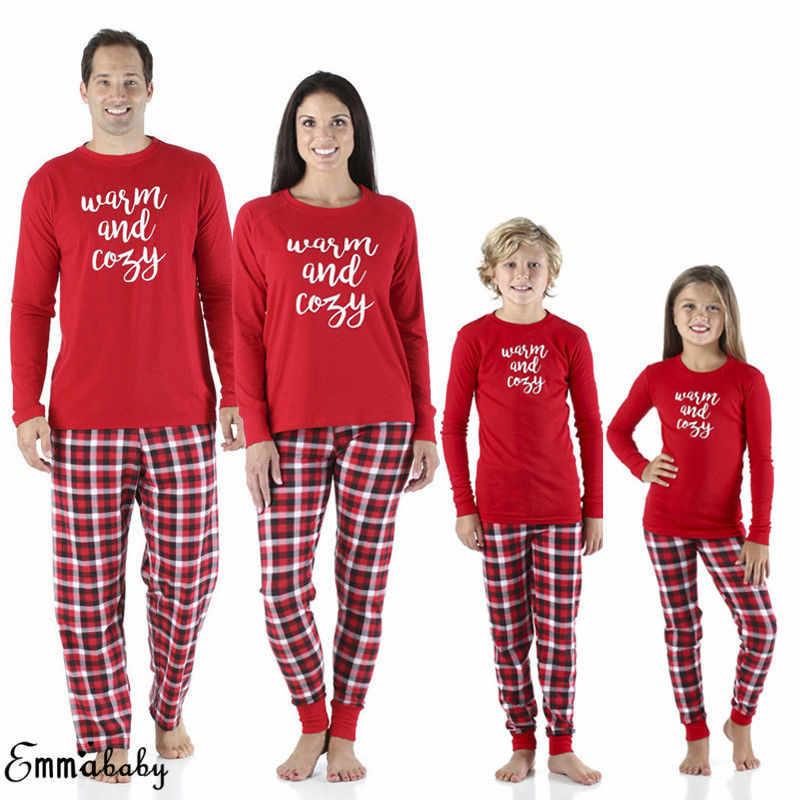 חג המולד משפחת התאמת פיג 'מה סט נשים תינוק ילדים חג המולד הלבשת Nightwear ארוך שרוול כותנה PJs קובע פיג' מה