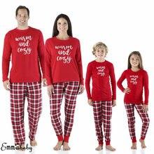 e912b3dba8cf Christmas Family Matching Pajamas Set Women Baby Kids Xmas Sleepwear  Nightwear Long Sleeve Cotton PJs Sets Pyjamas