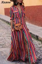 Women summer striped long maxi shirt dress loose casual colorful cotton retro print dresses half sleeve with pockets plus size