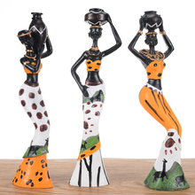 3Pcs Retro African Lady With Vase Ornament Ethnic Statue Sculptures National Culture Figurine Home Decor Art Crafts Gifts
