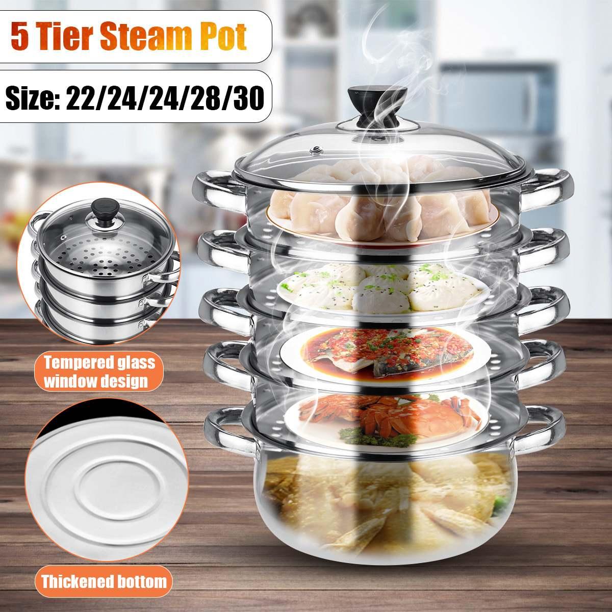 Acier inoxydable 22-30 cm 5 niveaux cuiseur vapeur casseroles batterie de cuisine 5 tailles bambou vapeur + pot de fond + couvercle pour pain de cuisine
