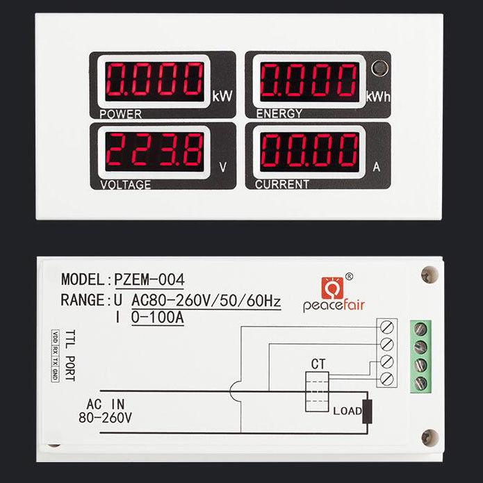 AC 110V 220V Digital 100A watt power Voltage Current Meter Volt amp Monitor Ammeter Voltmeter Instruments KWh 80-260V