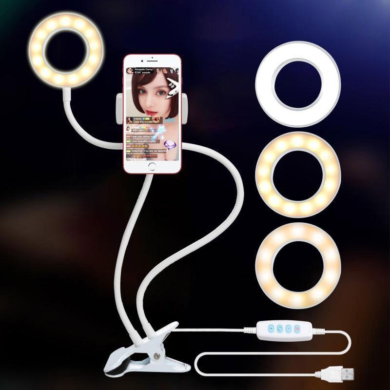 LED Ring Light Phone Video Lamp Photo Studio Selfie Makeup Lighting Camera Lamp For Live Show + Cell Phone Mobile Holder CF742