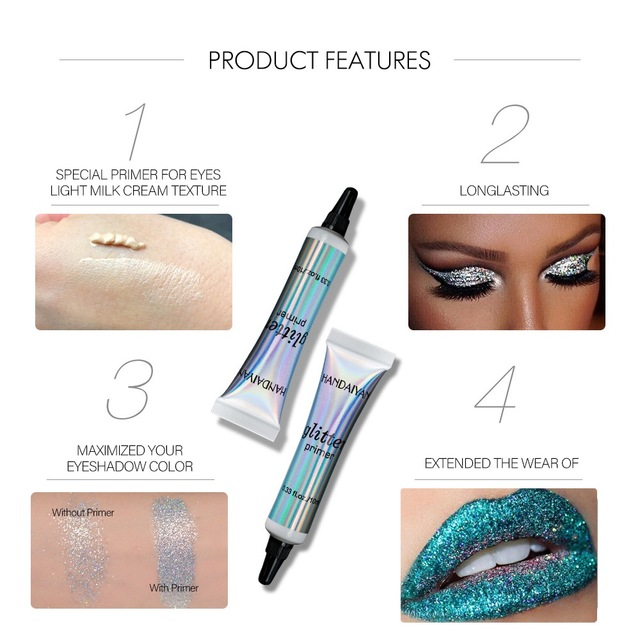 Make Up Face Primer Base Glitter Liquid Long Lasting Eyeshadow Color Brighten Primer For Eyes Lips Light Milk Cream Texture 3