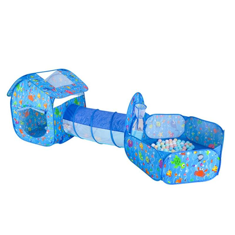 3pcs/Set Kids Tent House Play Toys Foldable Children Crawling Tunnel Portable Shooting Ocean Pool Pit Toy Blue Cartoon Play Tent