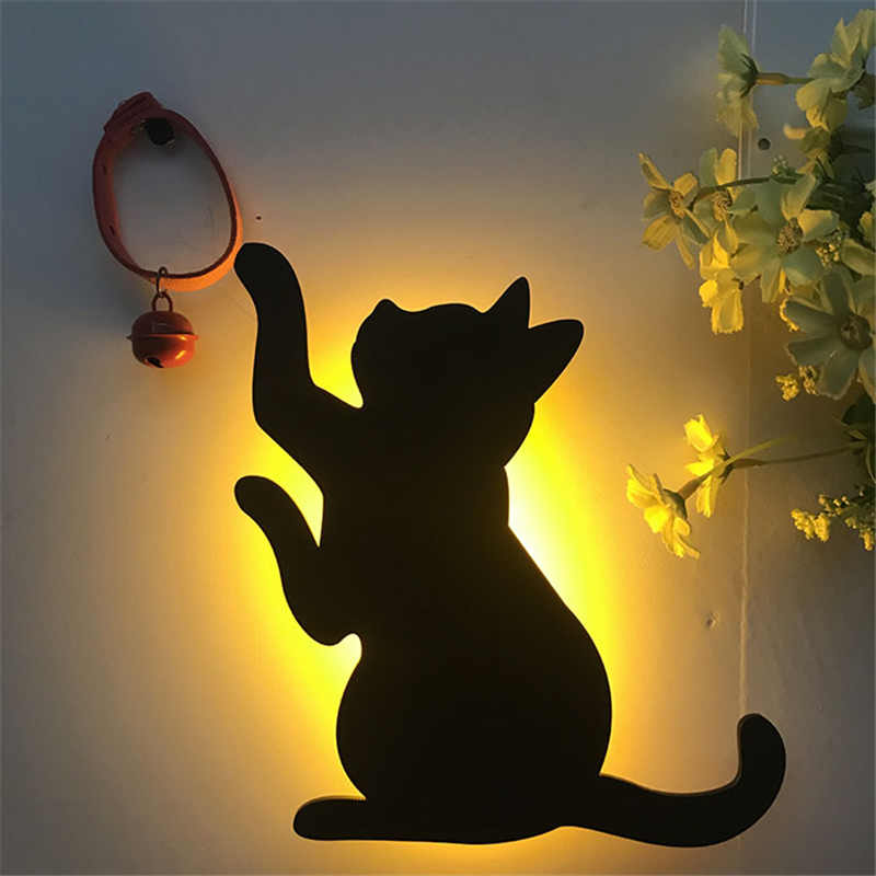 Animal Shape LED Night Light Cat Baby Nursery Lamp Light Sensor&Voice Sensor LED Battery Operated Wall Lamp For  Home Decorative