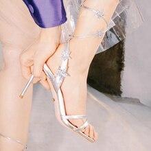 2019 Women Lace Up Sandals Star Decoration Peep Toe Thin Heels Pumps Dance Shoe Wedding Shoes New Desig