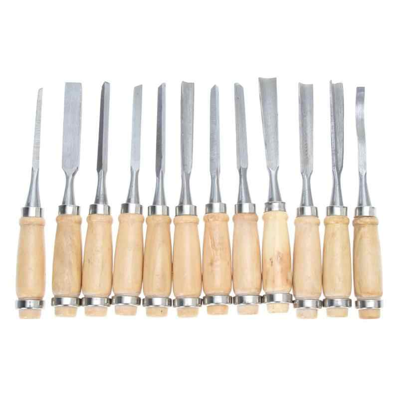 Profesjonalne 12 sztuk/zestaw instrukcja rzeźbione w drewnie ręcznie dłuta zestaw narzędzi stolarzy rzeźba w drewnie dłuta DIY szczegółowe narzędzia ręczne