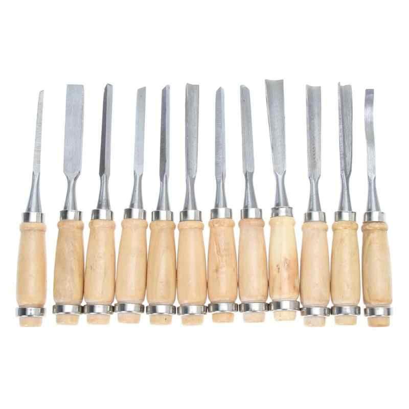 Professional 12 ชิ้น/เซ็ตคู่มือแกะสลักไม้มือสิ่วชุดเครื่องมือช่างไม้ไม้แกะสลัก DIY รายละเอียดเครื่องมือ