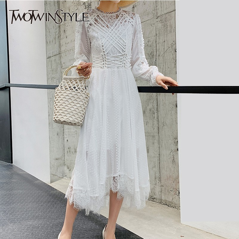 TWOTWINSTYLE Lace Embroidery Long Dress Women Bandages Patchwork High Waist Long Sleeve Female Dresses Elegant Spring