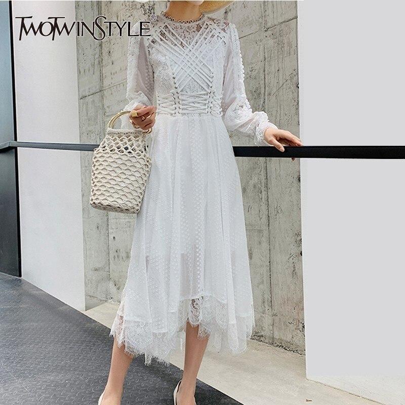 TWOTWINSTYLE ลูกไม้เย็บปักถักร้อยชุดสตรีผ้าพันแผล Patchwork สูงเอวชุดเดรสแขนยาวหญิง Elegant ฤดูใบไม้ผลิ 2019 ใหม่-ใน ชุดเดรส จาก เสื้อผ้าสตรี บน   1
